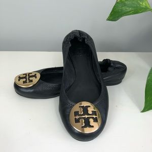 Tory Burch Leather Reva Flats Black Gold 6M